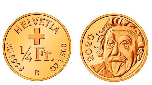 Zlatá mince s portrétem Alberta Einsteina