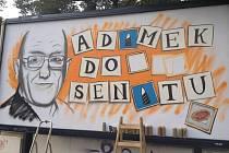 Autor známého portrétu Václava Havla, Dmitrij Proškin zvaný Chemis, nyní namaloval unikátní volební billboard pro senátního kandidáta na Praze 12 Františka Adámka.