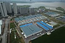 Nemocnice Lej-šen-šan ve Wu-chanu na letecké fotografii z 11. dubna 2020. Nemocnice byla postavena na parkovišti z prefabrikovaných modulů za dva týdny