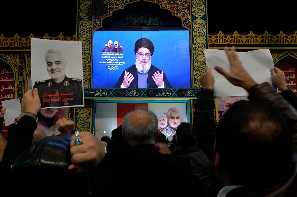 Lídr hnutí Hizballáh Hasan Nasralláh při projevu v souvislosti s úmrtím generála Kásema Solejmáního