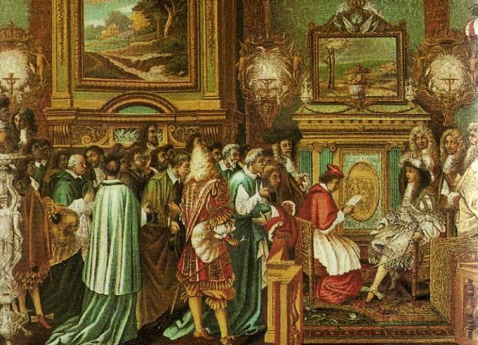 Francouzský král Ludvík XIV. přijímá papežského vyslance