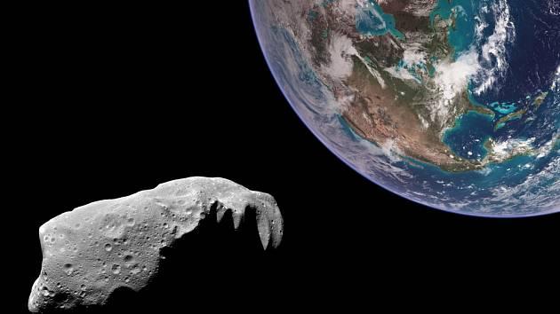 Země a asteroid - ilustrační foto.