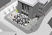 Návrh piazetty Vrchlického divadla v Lounech  podle opony Zdeňka Sýkory
