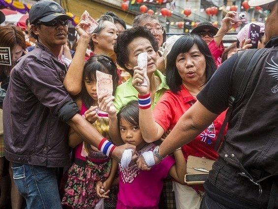 Protesty v ulicích Bangkoku.