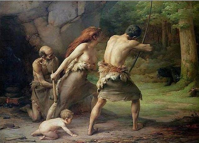 Romantická představa pravěkého lovu velké zvěře (v tomto případě medvěda), na němž se podílí celá rodina. Obraz Emmanuela Bennera z roku 1891