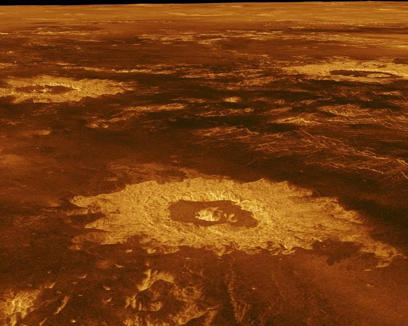 Povrch Venuše s krátery