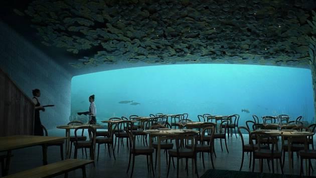 Podmořská restaurace v Norsku.