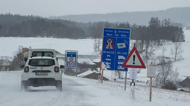 Uzavřený přechod s Rakouskem.