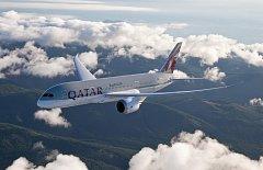 Boeing 787 řečený Dreamliner v barvách společnosti Qatar Airlines