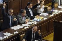 Ministr průmyslu a obchodu Martin Kuba (vpředu) při hlasování o prezidentem vetovaném zákonu o podporovaných zdrojích energie na schůzi sněmovny, která pokračovala 9. května v Praze.