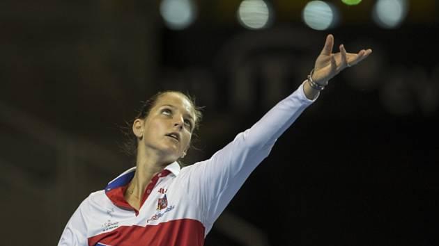 Karolína Plíšková na tréninku fedcupového týmu.