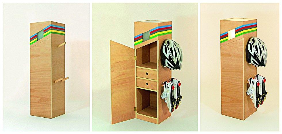 """Nábytek šampionů. Britský designér Tom Rowan navrhl skříňky na uložení cyklistických potřeb, které nezapřou závodní """"silničářský"""" charakter"""