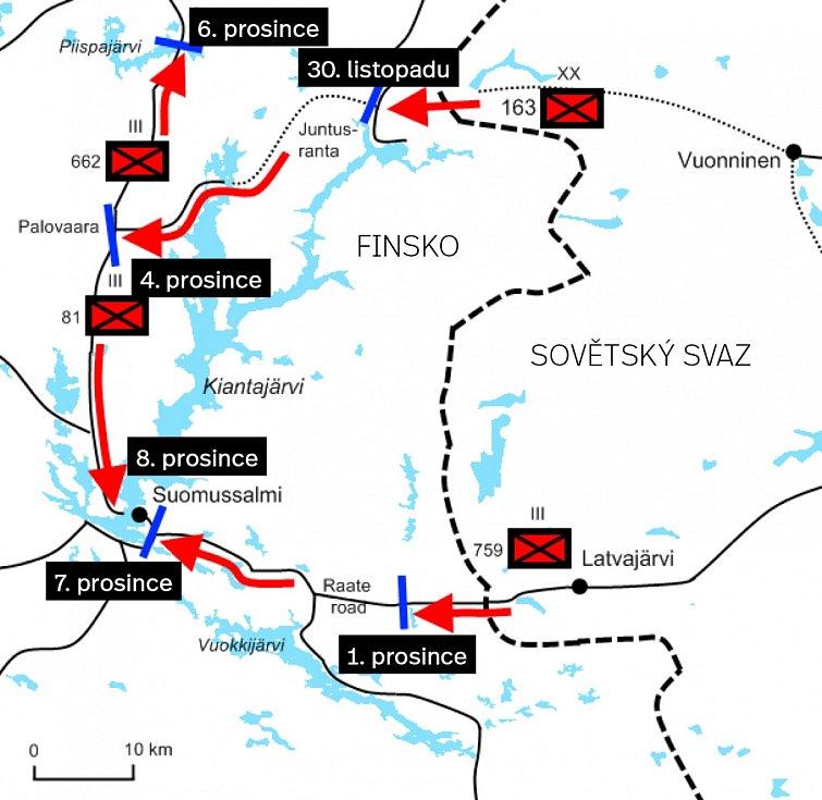 Postup 163. divize a jejích podpůrných jednotek před 8. prosincem