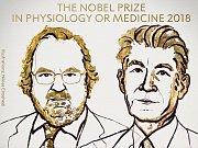 Nositelé Nobelovy ceny za fyziologii nebo lékařství za rok 2018 James P. Allison a Tasuku Honjo.