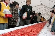 Komisař agentury Dobrý den měří rekordní jahodový koláč.