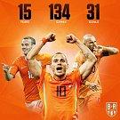 Wesley Sneijder se rozloučil s reprezentační kariérou. Za Nizozemsko odehrál 134 utkání a vstřelil 31 branek.