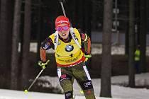 Laura Dahlmeierová v závodu SP v Novém Městě na Moravě.