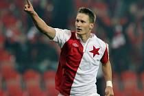 Milan Škoda ze Slavie se raduje z gólu.