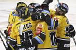 Hokejisté Litvínova se radují z gólu proti Kometě.