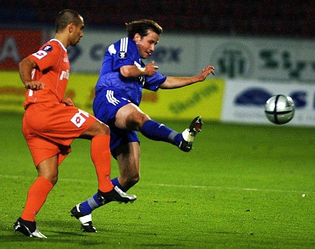 David Kobylík v dresu Olomouce. Sigma tehdy v prvním kole poháru UEFA vyzvala španělskou Zaragozu.