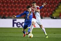 Fotbalové utkání osmifinále Evropské ligy mezi pražskou Slavií a Glasgow Rangers.