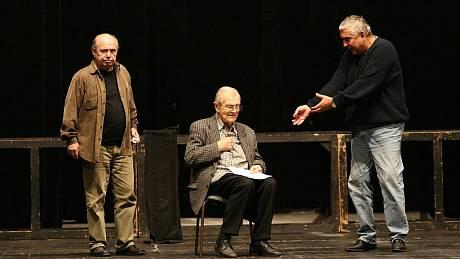 Milan Stehlík, Radovan Lukavský a Miroslav Donutil na zkoušce inscenace Don Juan 13. unora 2008
