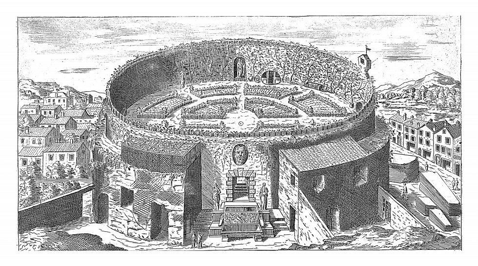 Pohled na Augustovo mauzoleum s upravenou zahradou v Římě, historická rytina.