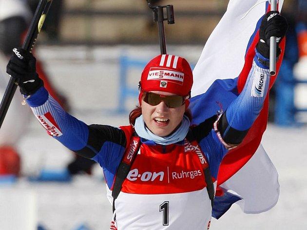 Ruská biatlonistka Světlana Slepcovová.