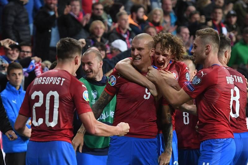 Utkání skupiny A kvalifikace o postup na mistrovství Evropy 2020 ve fotbale. Češi senzačně porazili Anglii 2:1