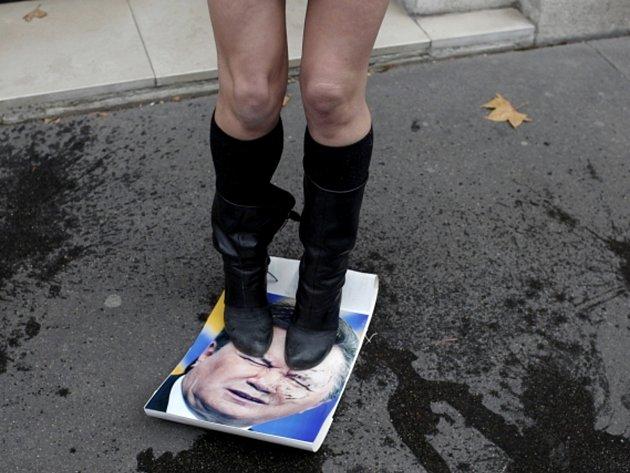 Skupinka polonahých aktivistek feministického hnutí Femen se před ukrajinskou ambasádou v Paříži demonstrativně vymočila na fotografie ukrajinského prezidenta Viktora Janukovyče.
