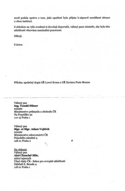 Dopis adresovaný Ministerstvu zdravotnictví a Ministerstvu průmyslu a obchodu