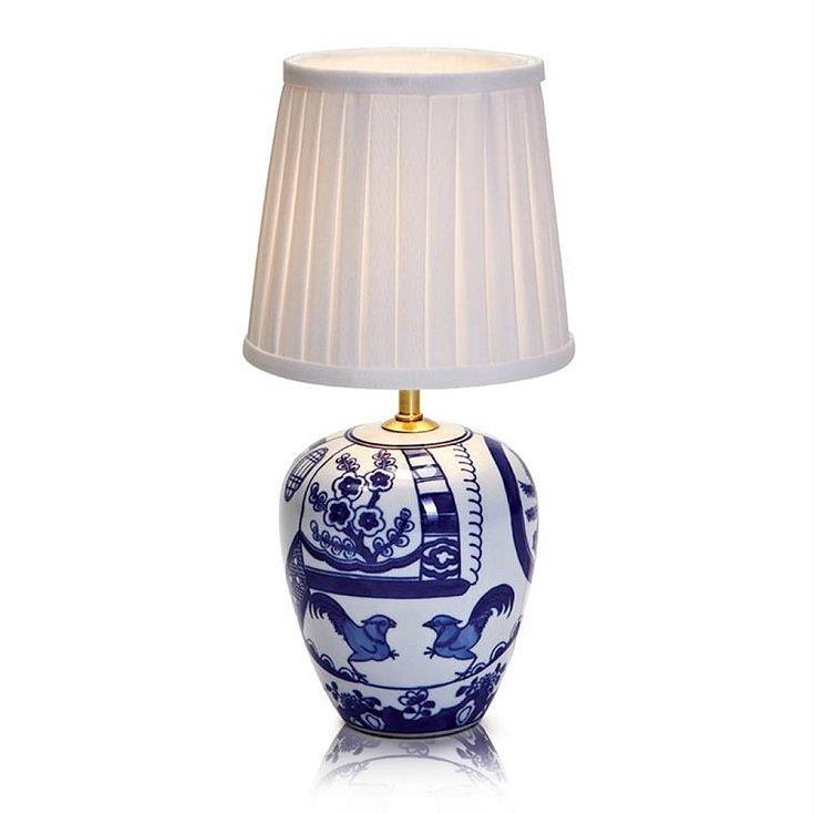 Modro-bílá stolní lampa Markslöjd Goteborg,  1980 Kč