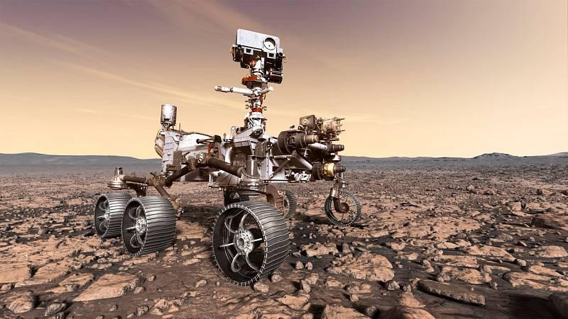 Vozítko Perseverance pro vesmírné misi Mars 2020.