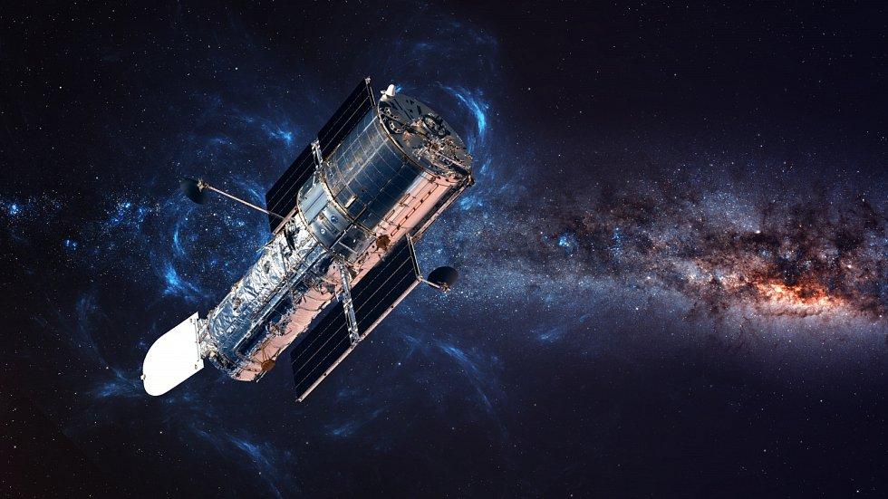 Hubbleův vesmírný teleskop na oběžné dráze nad Zemí.