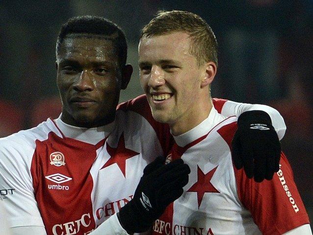 Slavia Praha - Baník Ostrava: Simon Deli a Tomáš Souček