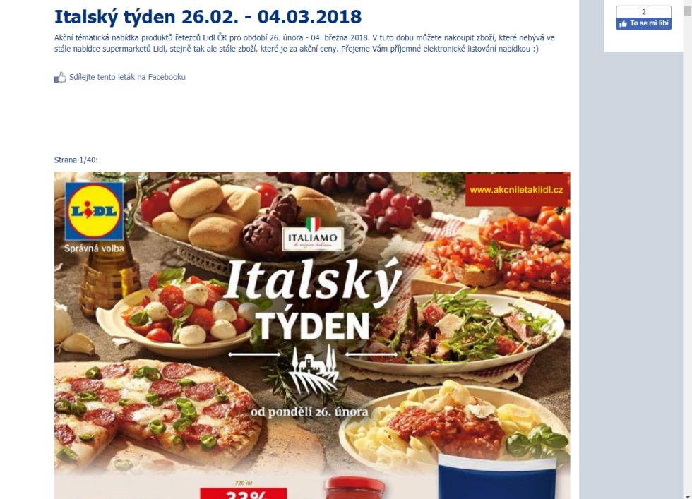 Na italský týden láká i Lidl v Česku.