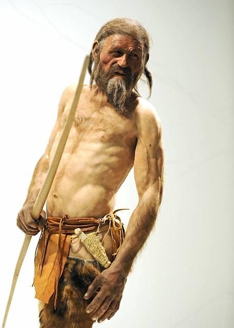 Rekonstrukce pravděpodobné podoby Ötziho z dílny společnosti Kennis Brothers. Nachází se v Ötziho muzeu v Bolzanu