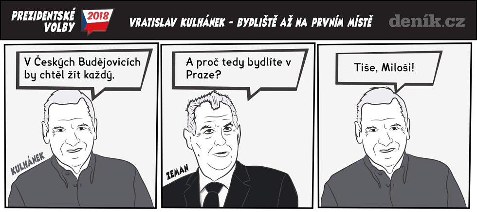 Prezidentské volby - komiks - Vratislav Kulhánek - Bydliště až na prvním místě