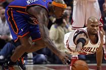 Al Harrington (v modrém dresu Knicks) v souboji s hráčem Chicaga Tajem Gibsonem.