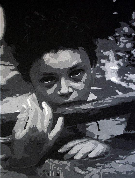 Smutně proslulý snímek fotografa Franka Fourniera v podobě street artu od umělce s přezdívkou Jinks Kunst