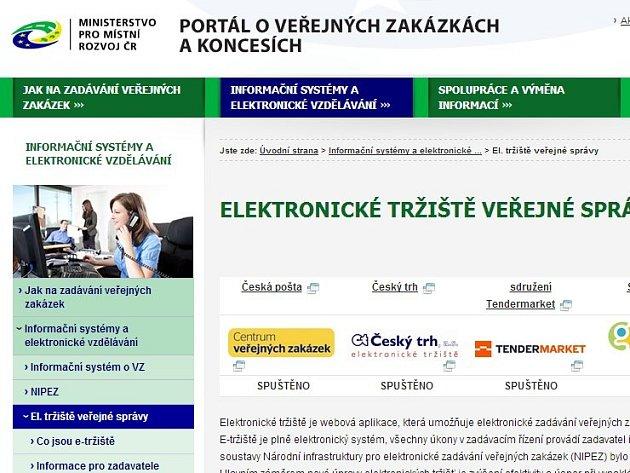 Elektronické zadávání zakázek, tedy takzvaná e-tržiště, ušetřila státu za první rok fungování jen 320 milionů korun, ačkoli ministerstvo pro místní rozvoj čekalo roční úsporu ve výši 1,2 miliardy.