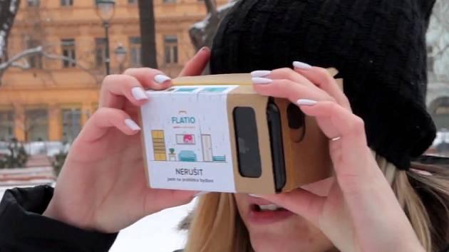 Prohlídka nabízeného bytu probíhá přes virtuální realitu.