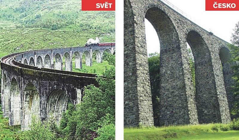 Glenfinnan Viaduct (Skotsko) x železniční viadukt v Kryštofově údolí.
