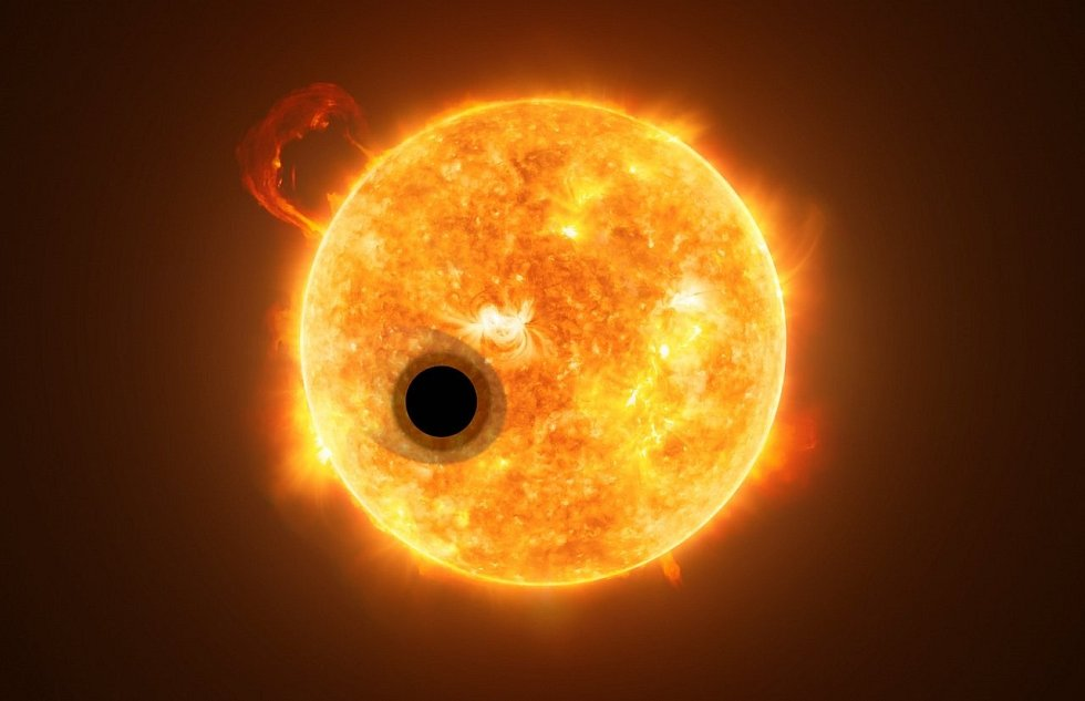 Vizualizace soustavy s exoplanetou WASP-107b. Ta představuje plynného obra, obíhajícího zblízka vysoce aktivní hvězdu vzdálenou asi 200 světelných let od Země