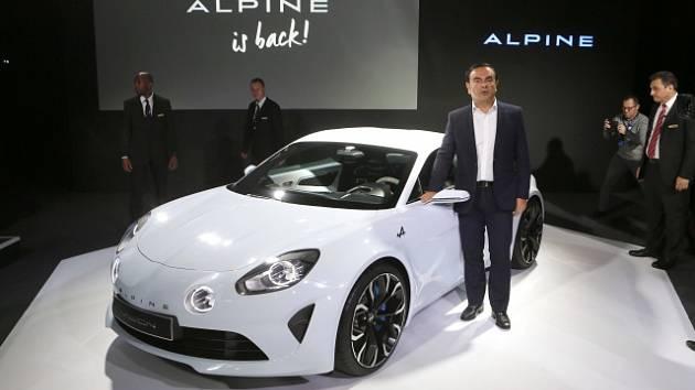 Carlos Ghosn při představení konceptu sportovního automobilu Alpine Renault Vision v únoru 2016.