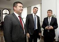 Jan Hamáček, Jiří Zimola a český premiér Andrej Babiš