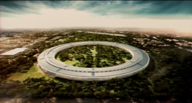 Sídlo firmy Apple ve městě Cupertino v Kalifornii. Zatím je ve výstavbě. Návrh.