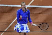 Česká tenistka Petra Kvitová se raduje ze svého vítězství ve 3. kole French Open.