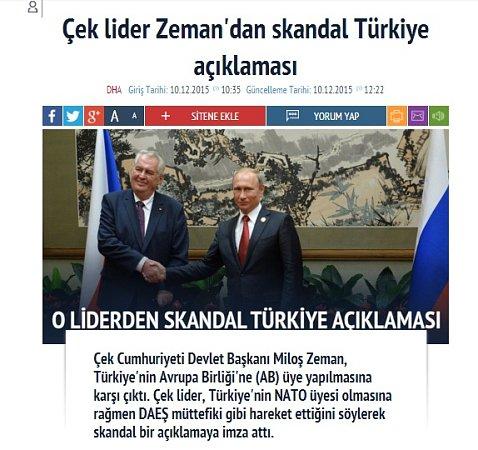 Článek tureckého serveru oprezidentu Zemanovi.