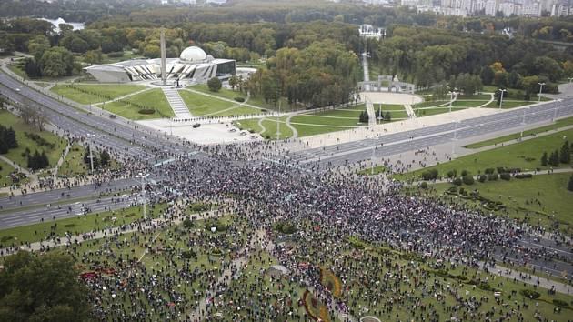 Protivládní demonstrace v Minsku.